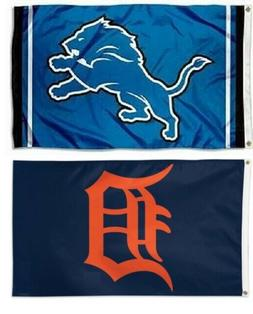 1 Detroit Lions NFL & 1 Detroit Tigers MLB 3x5 Sports Flags
