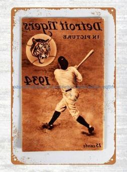 1934 baseball Detroit Tigers program tin sign garden house h