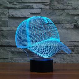 3D MLB Detroit Tigers Baseball Cap 7 Color LED Night light P