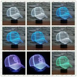 7 Color Change Baseball Cap Acrylic 3D Illusion LED Night Li