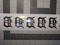 CHROME Vinyl Detroit Tigers 2 inch fire helmet decal sticker