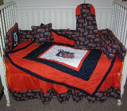 CRIB NURSERY BEDDING SET MADE/W DETROIT TIGERS FABRIC