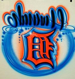 Custom Airbrushed Detroit Tigers Old English D