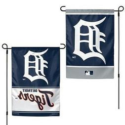 """DETROIT TIGERS 2 SIDED GARDEN FLAG 12""""X18"""" YARD BANNER OUTDO"""