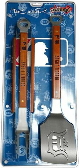 Detroit Tigers 3 Piece BBQ Grill Tools Tongs Spatula Fork