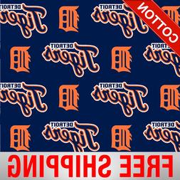 "Detroit Tigers Allovers MLB Cotton Fabric - 58"" Wide - Style"
