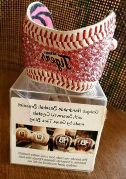 Detroit Tigers baseball Handmade cuff bracelet swarovski cry