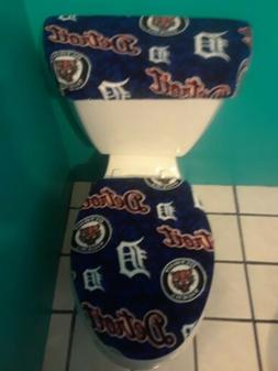 DETROIT TIGERS BLUE FLEECE TOILET SEAT COVER SET clearance S