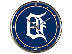 "DETROIT TIGERS CHROME 12"" ROUND WALL CLOCK MLB BASEBALL MAN"