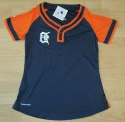 Majestic Detroit Tigers Coolbase Fan Fashion Shirt Two Snap