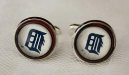 detroit tigers cuff links made from baseball