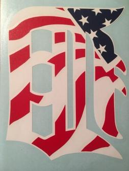 "Detroit Tigers D American Flag Vinyl Decal 4.6""x6"" **FREE SH"