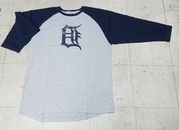 """Detroit Tigers """"D"""" Men's Size XLT Majestic Gray 3/4's Sleeve"""