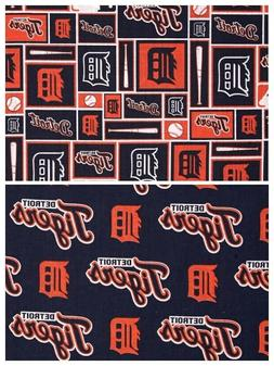 "detroit tigers fabric 10""x58"" cotton NEXT DAY SHIP good for"