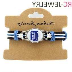 detroit tigers genuine leather adjustable bracelet wristband