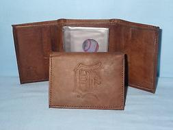 DETROIT TIGERS   Leather TriFold Wallet   NEW    brown 3v nd