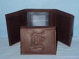 DETROIT TIGERS    Leather TriFold Wallet    NEW    dark brow