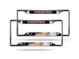 Detroit Tigers MLB  Chrome EZ View 4 corner License Plate Fr