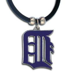 Detroit Tigers Necklace Black Rubber Cord Large Metal Pendan