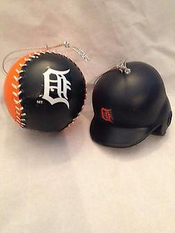 Detroit Tigers NEW Two Pack Team Logo Christmas Ornaments .
