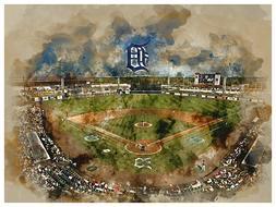 Detroit Tigers Poster Watercolor Art Print Man Cave Decor 12