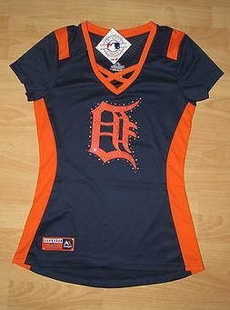 Majestic Detroit Tigers Rhinestone Fan Fashion Sexy Shirt Je