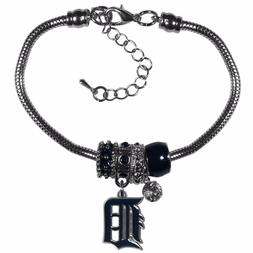 Detroit Tigers Snake Chain Bracelet with Euro Beads MLB Lice