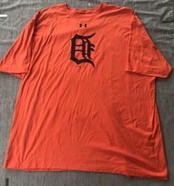 Under Armour Detroit Tigers T Shirt Sz 5XL XXXXL MLB ORANGE