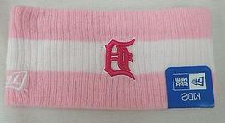 Detroit Tigers New Era Youth Pink Striped One Size Sweat Hea