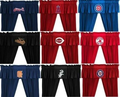 baseball drape valance set sports team curtain