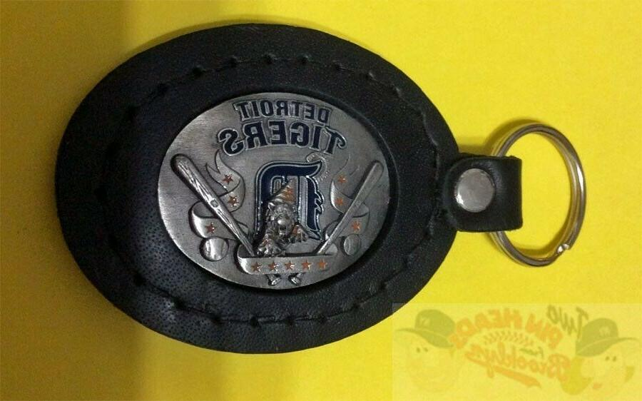 detroit tigers 3d relief leather key fob