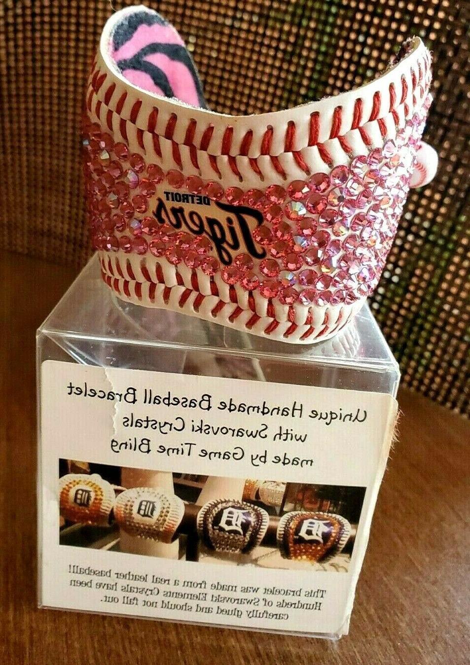 detroit tigers baseball handmade cuff bracelet swarovski