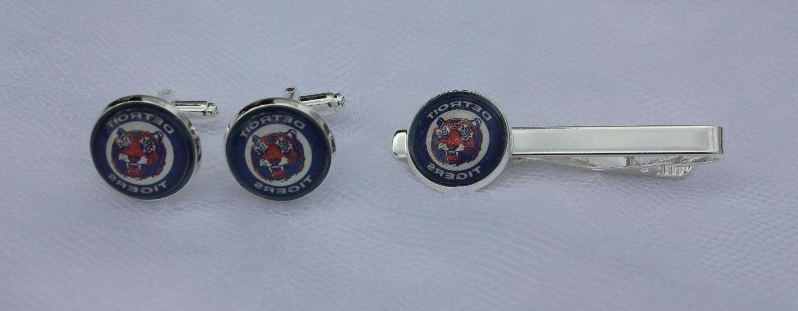detroit tigers cuff link and tie clip