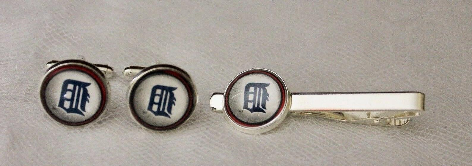 detroit tigers cuff links and tie clip