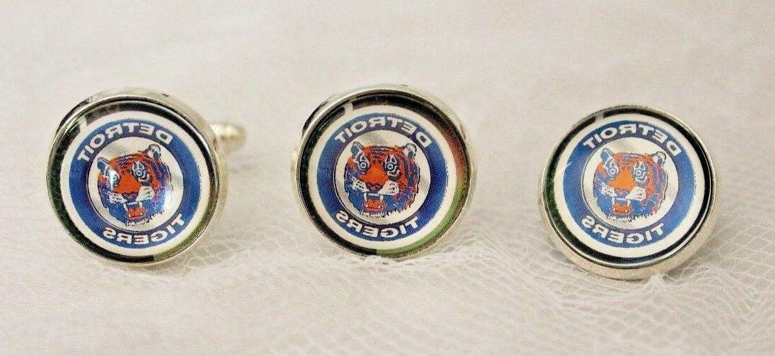 detroit tigers cufflinks and tie tack set