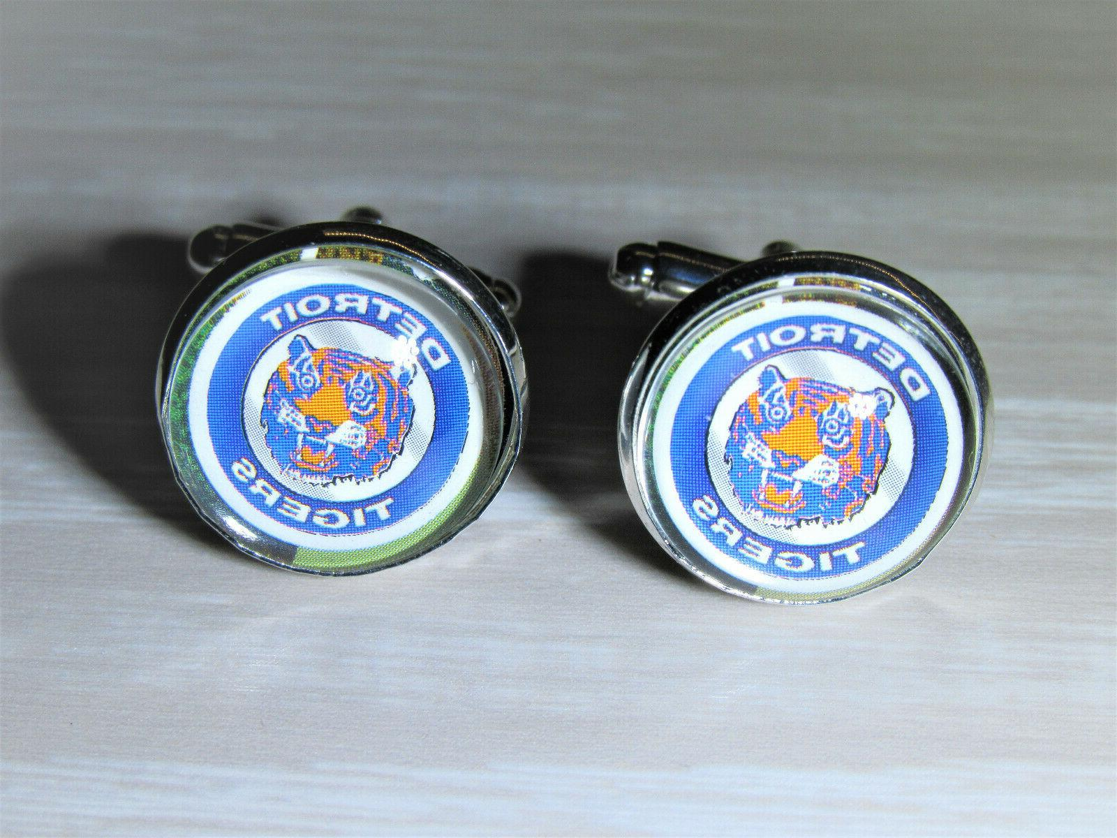 detroit tigers cufflinks made from baseball trading