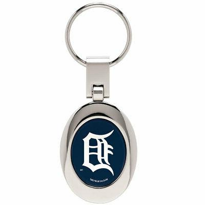 detroit tigers domed metal keychain keyring new