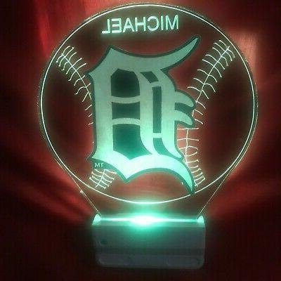 Detroit MLB Night Light Personalize LED In Dawn