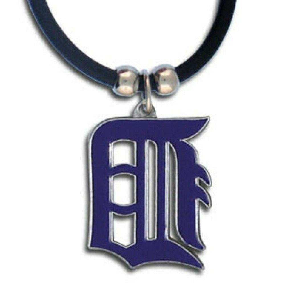 detroit tigers necklace black rubber cord large