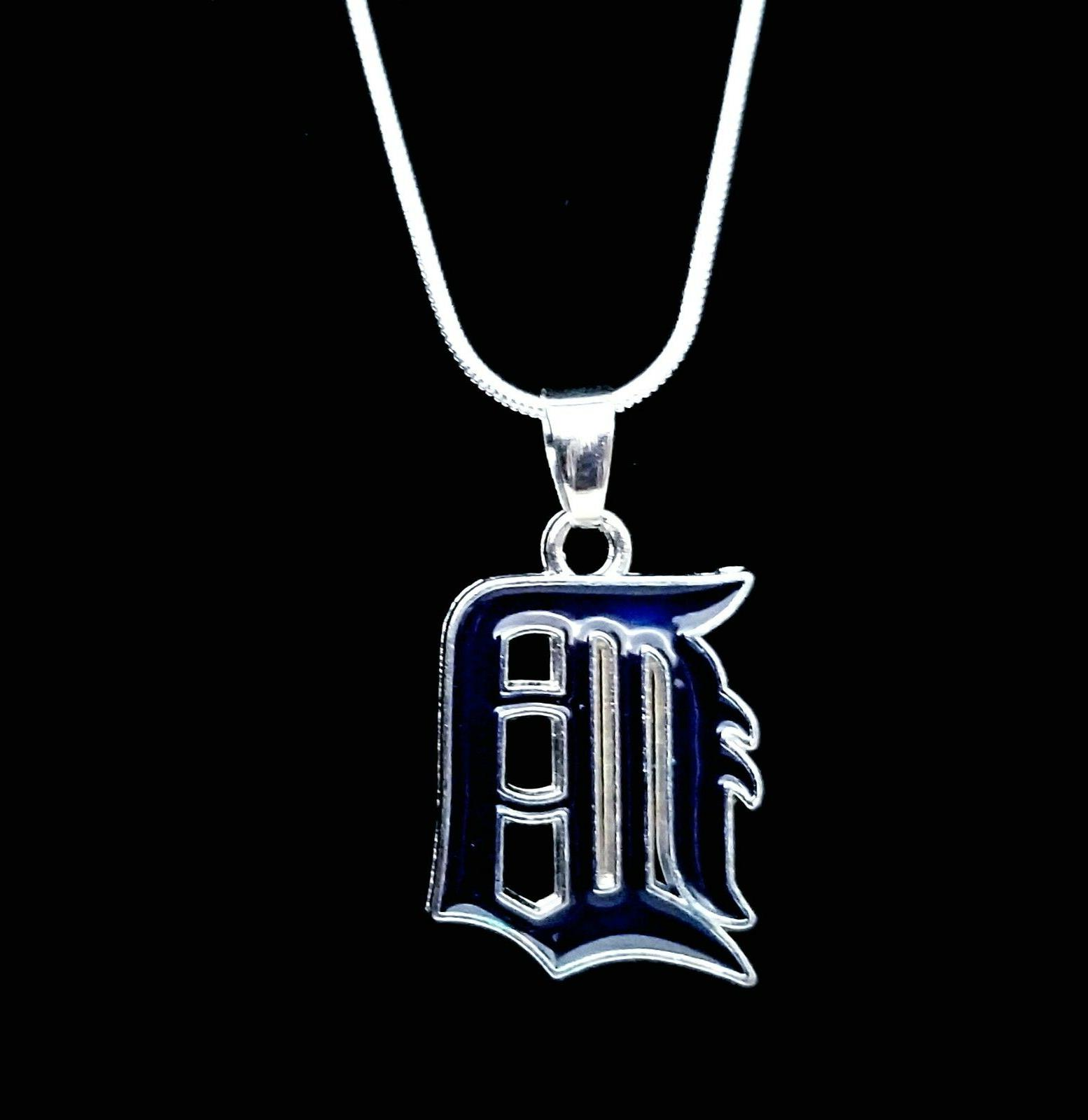 detroit tigers silver necklace chain mlb team