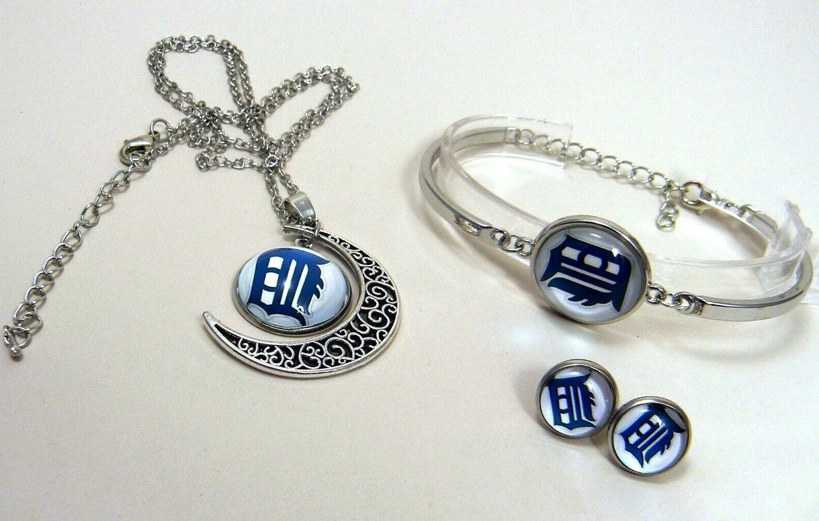 M98 tigers team logo set bracelet, earrings-