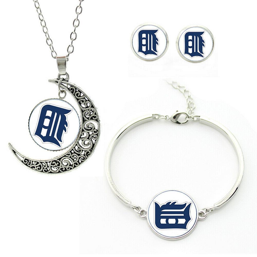 m98 detroit tigers team logo set necklace