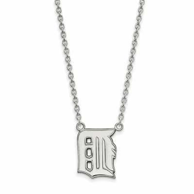 Sterling Silver Detroit Tigers Large Pendant with Necklace
