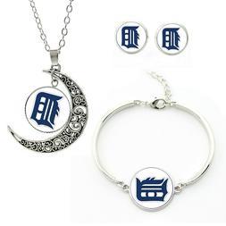 M98 Detroit tigers team logo set -necklace, bracelet, earrin