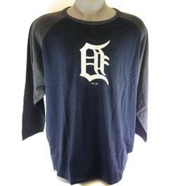 Mens Majestic MLB Detroit Tigers Big & Tall 3/4 Sleeve Ragla
