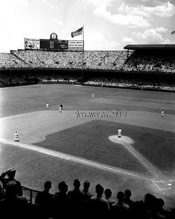 MLB 1945 Biggs Stadium Detroit Tigers Game Action Aerial Vie