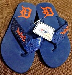 MLB AKM Size 5 / 6 Detroit Tigers Sequin Wedge Heel Flip Flo