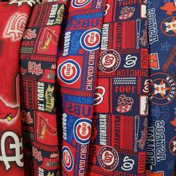 "MLB Baseball Cotton Fabric By The 1/4 YARD  9"" x 44"" - PICK"
