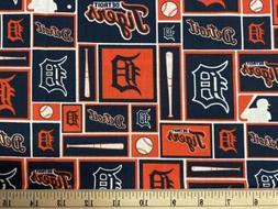 MLB DETROIT TIGERS Baseball, Blocks, HALF Yard  100% Cotton