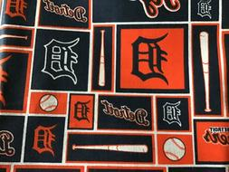 "MLB DETROIT TIGERS COTTON FABRIC 1/4yd  9""x58"" - perfect for"
